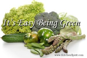 picture of green vegetables broccoli asparagas green beans cucumber kale lettuce it's easy being green kitchen spirit jill reid