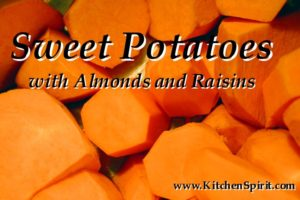 picture of peeled sliced sweet potatoes kitchen spirit recipe sweet potatoes with almonds and raisins jill reid