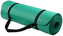 picture of green yoga mat with carrying strap