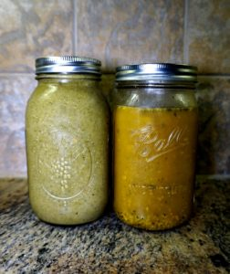 glass jar of broccoli and beet greens soup and vegetable stock kitchen spirit jill reid